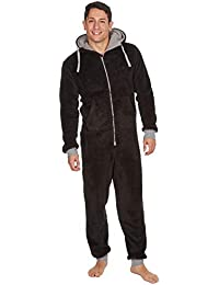 529e8dedbb Mens Luxury Fleece Onesie Hooded Zipped All in One Pyjamas Jumpsuit