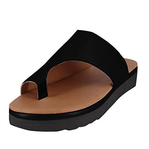 B-commerce Roman Black Schuhe für Frauen Mode Open Toe Knöchel Strand Schuhe Hausschuhe Sandalen