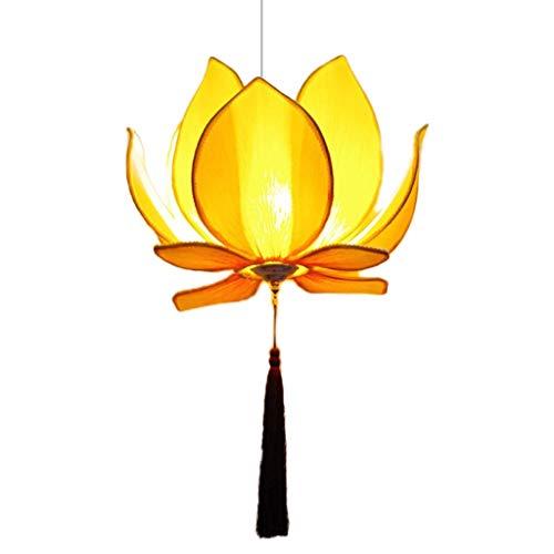 Xuejuanshop Deckenleuchte-Panel Innendeckenmontage Deckenleuchte New Chinese Lotus Art-Gewebe Kronleuchter Restaurant Fotang Eisen Lotus Flower-Deckenleuchte Pendelleuchten Deckenlampe