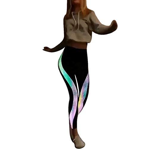 QUICKLYLY Yoga Mallas Leggins Pantalones Mujer,Mujeres NeóN Rainbow Leggings Fitness Deportes Gimnasio Running Yoga Athletic Pants(Negro,XL)