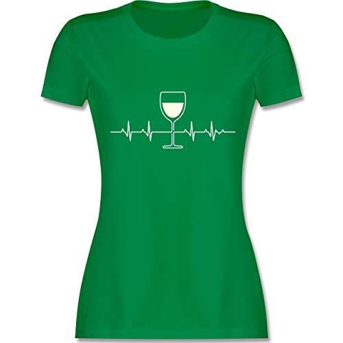 Symbole - Herzschlag Weißwein - XL - Grün - L191 - Damen T-Shirt Rundhals