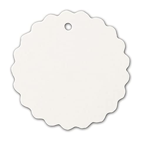LWR Crafts 100 Hang Tags Scalloped Round with Jute Twines 100ft (2