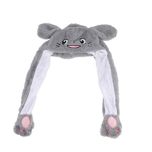 Fenteer Lustige Plüsch Tier Hut Mütze, Beweglich Ohren durch Kneifen Airbag, Erwachsene und Kinder - Graue - Graue Katze Kostüm