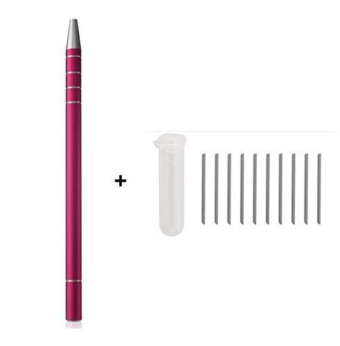 1 Stücke Frisur Gravierte Stift 10 Stücke Klingen Professionelle Haarschneider Haar Styling Augenbrauen Rasieren Salon DIY Frisur Zubehör,Pink -