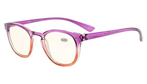 Eyekepper Lunettes Ordinateur / de vue pour la lecture Blocage lumiere bleue Reduction fatigue des yeux Vision large nette en grossissement femme (violet, +2.50)
