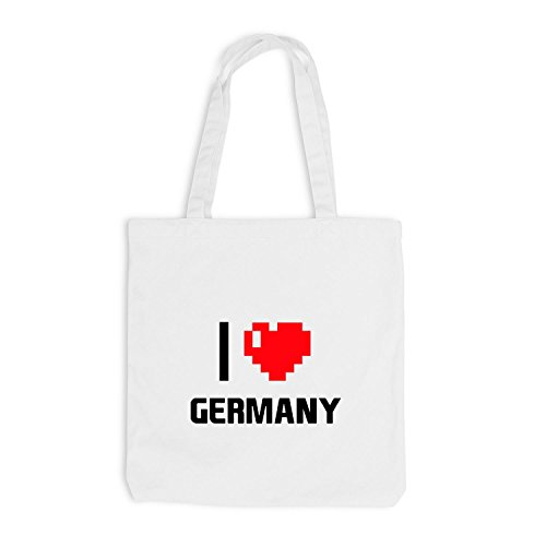 Jutebeutel - I Love Germany - Germany Travel Cuore Cuore Pixel Bianco