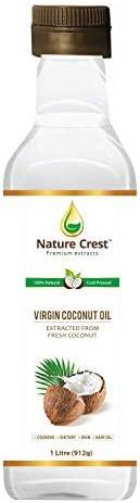 Nature Crest 100% Cold Pressed Virgin Coconut Oil, 1 L