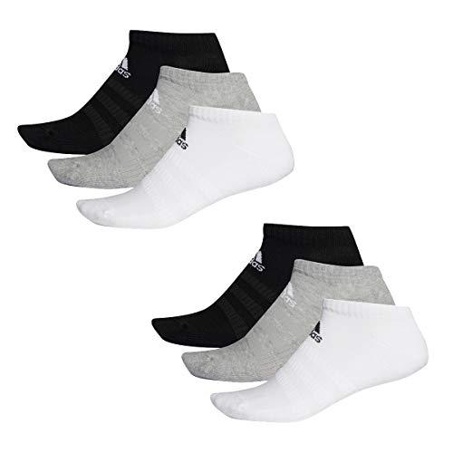 adidas 6 Paar Performance No Show Sneaker Socken Unisex Kurzsocke, Farbe:schwarz - weiß - grau, Socken & Strümpfe:46-48 -