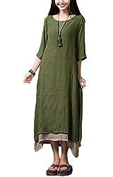 Damen Kleid Unregelmäßiger Rand Beiläufige Boho Lang Maxikleider S-4XL,Orange/Grün/Coffee, Armee-grün, XXL
