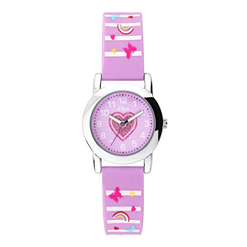 s.Oliver Mädchen Analog Quarz Uhr mit Silikon Armband SO-3725-PQ