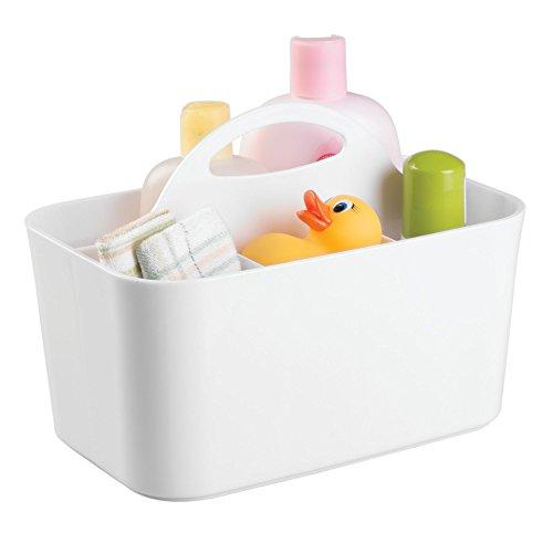 mDesign boîte de rangement pour la chambre d'enfant – pour la conservation d'aliments pour bébé – 4 compartiments – système de rangement en plastique pour accessoires de bébé et Cie, blanc – poignée intégrée