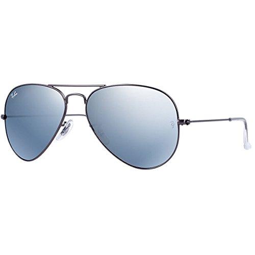Ray Ban Unisex Sonnenbrille Aviator, Gr. Large (Herstellergröße: 58), Silber (silber 029/30, Gläser: grün gespiegelt silber)