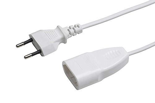 Meister Euro-Verlängerung - 3 m Kabel - weiß - Kunststoffleitung - IP20 Innenbereich - Ideal für Lampen & Lichterketten / Verlängerungskabel / Euro-Stecker / Euro-Kupplung / 7431310
