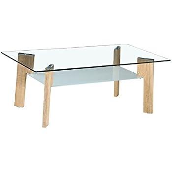 Basse Pieds Bois Table Verre Look 100x60xh44cm Cuisineamp; En Maison 80OwmnNv