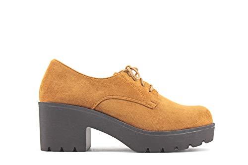 Modelisa - Zapatos Blucher Tacón Ancho Mujer 41, Camel