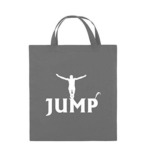 Borse A Tracolla - Jump - Figure - Borsa In Juta - Manico Corto - 38x42cm - Colore: Nero / Argento Grigio Scuro / Bianco