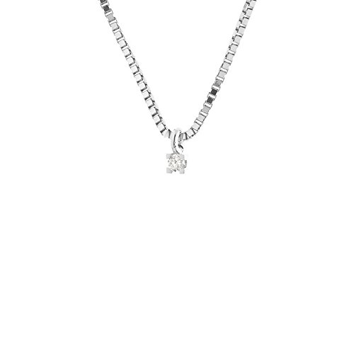 And You - & You - Collier avec Pendentif - Or Blanc 18 cts - Diamant 0.07 cts - 42 cm - AM-CDG 007