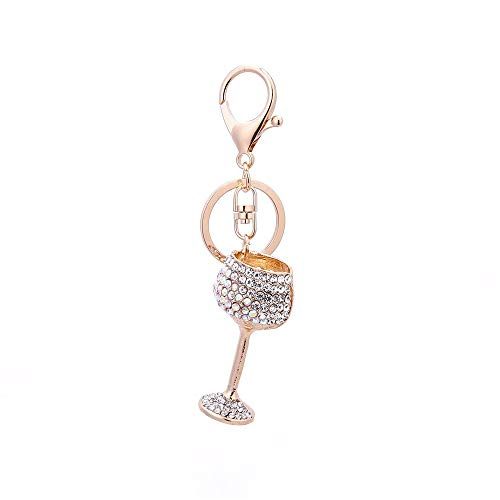 AZXCyJ Schlüsselanhänger Weinglas Legierung Punkt Diamant Anhänger Schlüsselanhänger Mode...