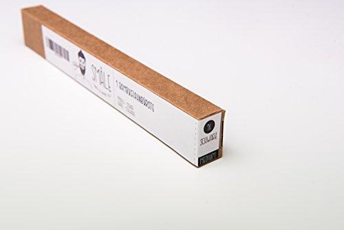 SMÅLE - Bambus Natur Zahnbürste : Ökologische & biologische Holz-Zahnbürste, vegan, Plastikfrei, BPA frei & Zero Waste, Single (Schwarz - Medium -