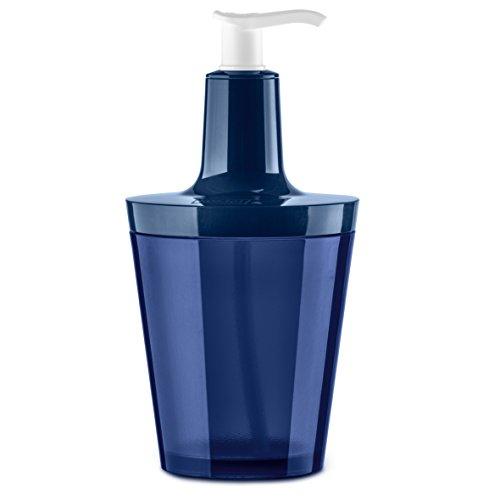 Koziol Dispensador de Jabón, Termoplástico, Transparente/Deep Velvet Azul