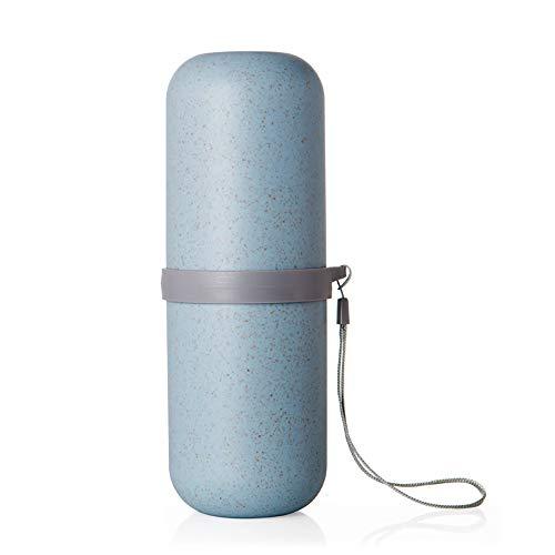Wheat Stalk Wash Gargle Cup, Tragbare Zahnbürste Cup Organizer Halter für Camping Geschäftsreisen Reisen - Blau