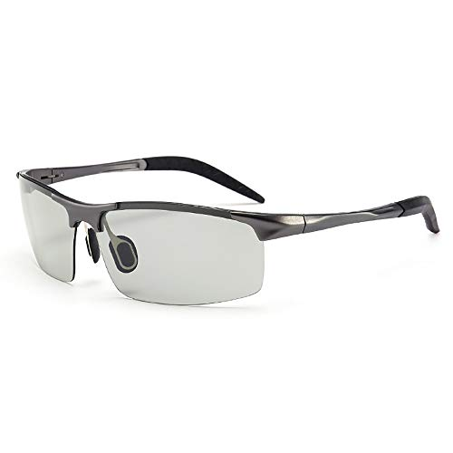 QYEND Automatischer Farbwechsel Polarisierte Gläser Aluminium Magnesium Sonnenbrillen Herren Sonnenbrillen Outdoor Sports Reitbrillen,D