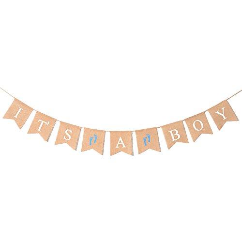 Advantez naturale Bunting della tela da Banner Genere Rivela Baby Shower Announcement festa di compleanno decorazione Flag Newborn Celebration(it is a boy) - Compleanno Banner Misure