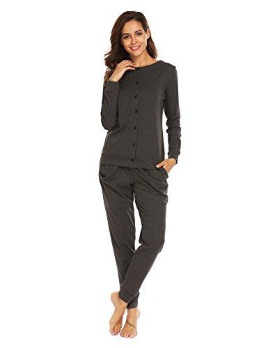 Untlet Damen Schlafanzug Pyjama Set Klassisches Stricken langen Ärmeln Sleepwear, Grau377, EU 44(Herstellergröße:XXL)