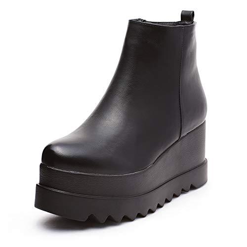 Mforshop scarpe donna tronchetto stivaletti eco pelle zeppa alta ankle boots shoes kl-193 - nero, 40