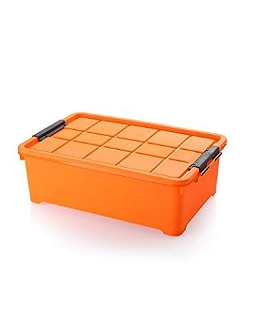 Grande boîte de rangement en plastique sous la boîte de rangement de lit avec une poulie Toys Quilt boîte de finition de vêtements (en 4 couleurs) ( couleur : Orange , taille : 60*40*20cm )