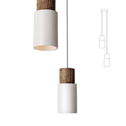 Lot de 2 lampes suspendues vintage blanc Suspension Rétro Abat-jour Industrial Eson E27 Ampoule pour salle à manger Table restaurant salon hôtel café
