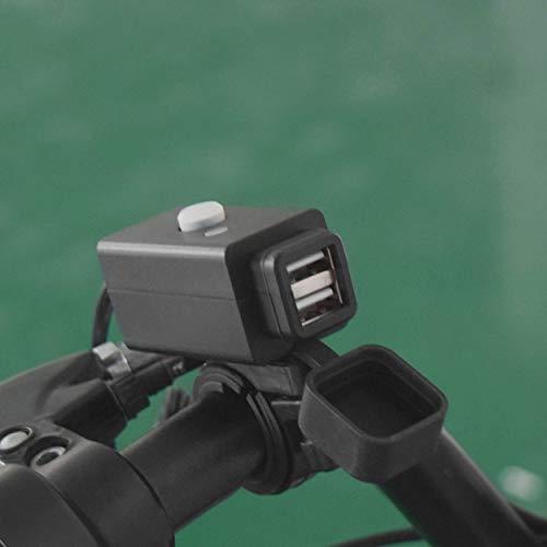 Lorenlli Fit YKT-0204X-5 12-24V 3.1A Dual USB wasserdichtes Handy-Ladegerät mit LED-Anzeigeleuchte für Schalter Motorradzubehör
