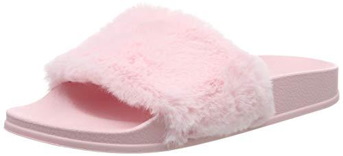 Apika pantofola di pelliccia del faux flop delle donne fuzzy fluffy comfy sliders aprire la punta slip on(eu40 rosa)