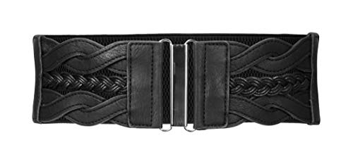 BlackButterfly 7.5 CM Waspie Elástico Vintage Trenzado Hebilla Cinturón (Negro, ES 46-48)