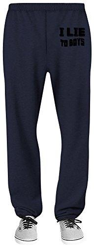 Harma Art I Lie to Boys Relaxed Jersey Pants - 70% Baumwolle, 30% Polyester - Hochwertige Sweatpants für Indoor & Outdoor Aktivitäten Medium (Navy Jersey Boys Blue)