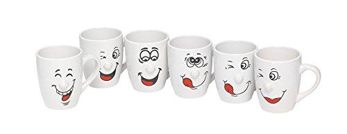 wohnen-freizeit 6tlg.Set Smile Kaffeepott, Kaffee, Kaffeetassen, Kakao, Kakaotasse, Kaffeetasse, Kaffeebecher, Tee. 300 ml Cappuccinotassen,