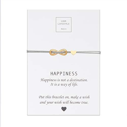 LUUK LIFESTYLE Filigranes Textil Armband mit Infinity und Herz Anhänger und Happiness Spruchkarte, Glücksbringer, Frauen Armband, beige, Hellbraun, Gold -