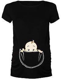 60281bad5 zarupeng ♥♥♥♥♥ Mujeres Embarazadas Manga Corta con Estampado de Dibujos  Animados Camisa de Vestir de Maternidad Bebé en Bolsillo…