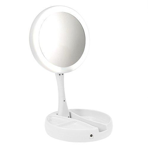 Espejo de Maquillaje LED, plegado 21 luces LED de alto brillo de sobremesa 10X aumento cosmético Touch Up espejo para tocador, USB o baterías fuente de alimentación