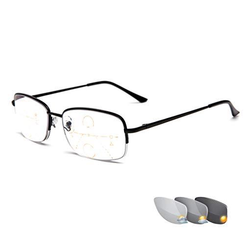 Photochrome Lesebrille, zweifarbige, Progressive Multifokus-Sonnenbrille, Unisex-Brille, stilvolle, rechteckige, bifokale Lesehilfe, die beim Lesen im Freien getragen Wird