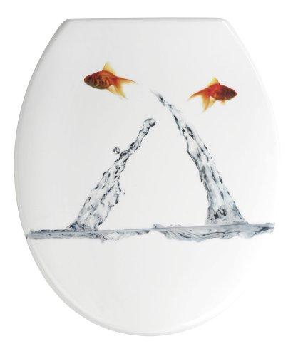 WENKO 19550100 WC-Sitz Springing Fish – rostfreie Edelstahlbefestigung, Kunststoff – Duroplast, 38 x 45 cm, Mehrfarbig