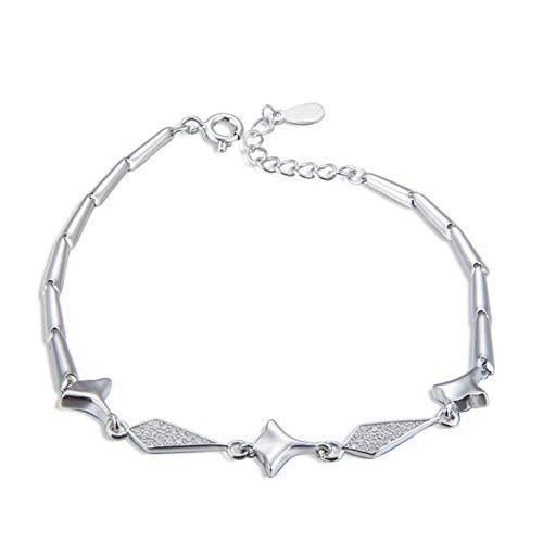 RHHY-FIROD Diamantarmband aus 925er Sterlingsilber, von Hand in Zirkon gefasst, Längenverstellbar an der Schwanzverlängerung -