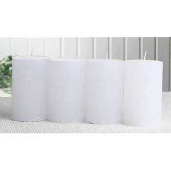 SET: 4x Rustik-Stumpenkerze, 8 x 5 cm Ø, weiß
