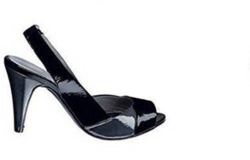 Sandalo col tacco alto Pelle verniciata in nero / Grigio - nero/grigio, Donna, 37 EU
