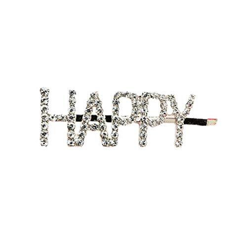 Yanhonin Haarnadeln mit Buchstaben, lustig, koreanischer Stil, gerade Haarklammern, Strasssteine Happy