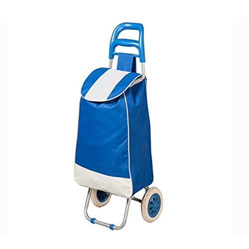 Tellerwagen Folding Trolley Tragbare Supermarkt Warenkorb Gepäck Trolley Einkaufswagen Trolley Trolley Kinderwagen Lager 30 Kg (Color : Blue, Size : 36 * 32 * 96cm)