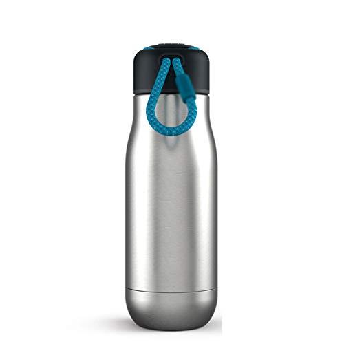 Edelstahl-Vakuumflasche, Tragbare Thermoskanne 12 Unzen (Color : Silver) ()