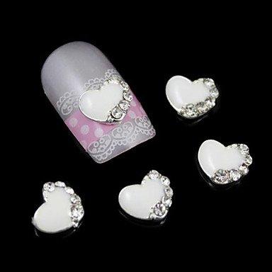 MZP 10pcs accessoires à coeur blanc pour la colle à ongles alliage bricolage nail art décoration