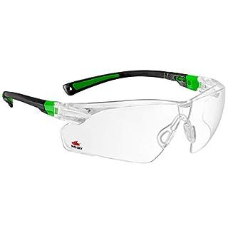 NoCry Schutzbrille mit durchsichtigen Anti-Beschlag und kratzbeständigen Gläsern, Seitenschutz und rutschfesten Bügeln, UV-Schutz, verstellbar, schwarz grüner Rahmen