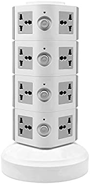 Universal Vertical Multi Socket 220V Tower Extension Electrical Outlet Lead with USB Ports 3M Cord and UK-Plug